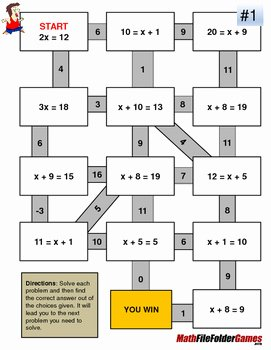 One Step Equations Worksheet Pdf Unique E Step Equations Fun Worksheets Mazes by
