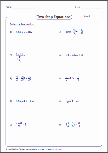 One Step Equations Worksheet Pdf Unique Two Step Equation Worksheets