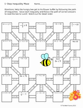 One Step Inequalities Worksheet Fresh E Step Inequalities Maze Activity by the Math Factory