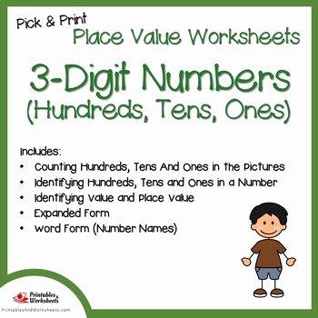 Ones Tens Hundreds Worksheet Best Of Place Value Hundreds Tens and Es Worksheets 3 Digit