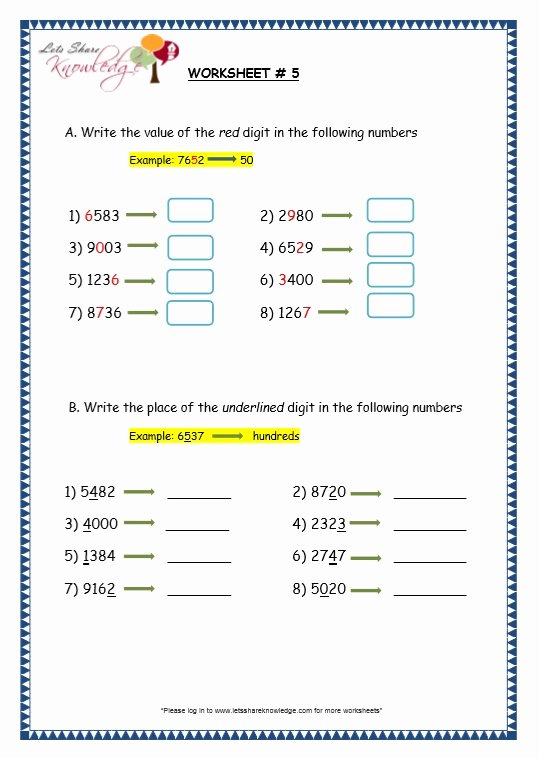 Ones Tens Hundreds Worksheet Elegant Grade 3 Maths Worksheets 4 Digit Numbers 1 1 Es Tens