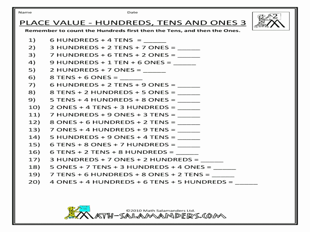 Ones Tens Hundreds Worksheet Elegant Place Value Hundreds Tens and Es 3 Worksheet for