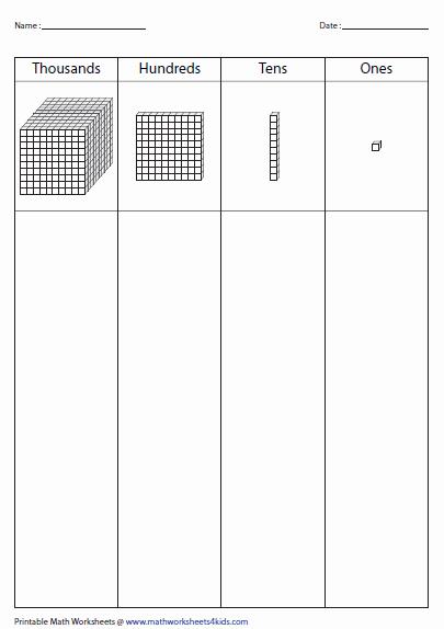 Ones Tens Hundreds Worksheet Lovely Base Ten Blocks Worksheets