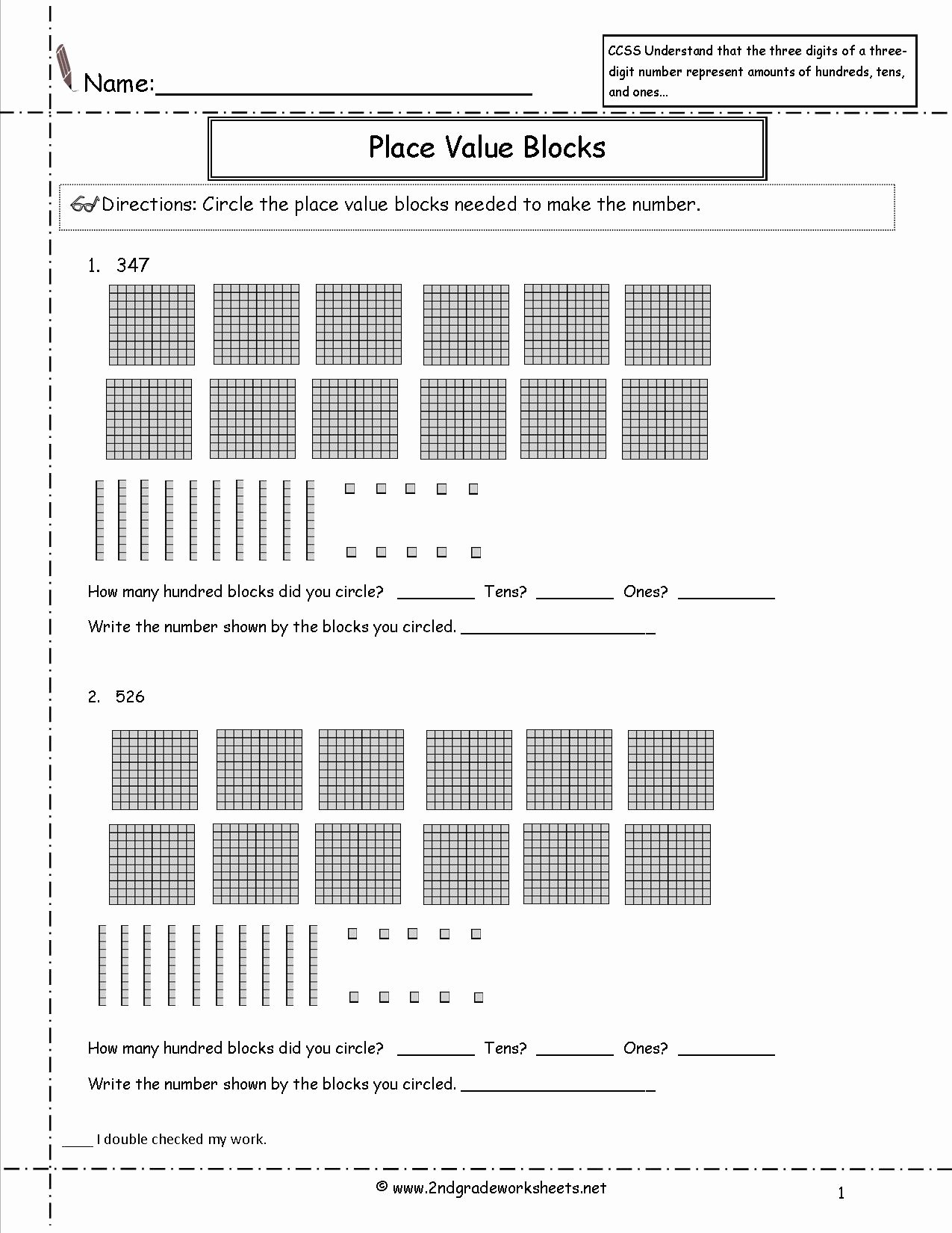 Ones Tens Hundreds Worksheet New 2nd Grade Math Mon Core State Standards Worksheets