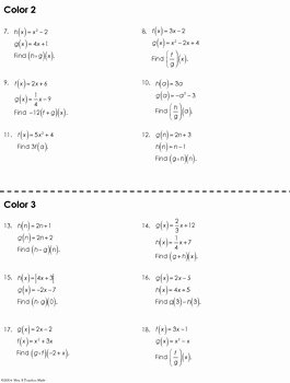 Operations On Functions Worksheet Best Of Function Operations Coloring Worksheet by Mrs E Teaches