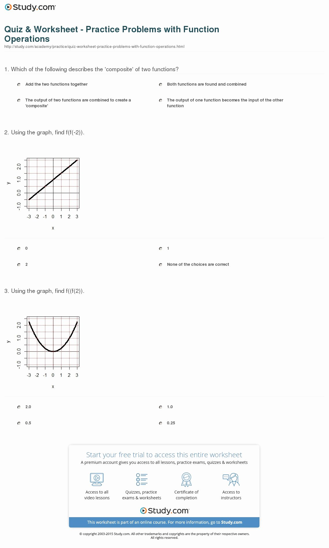 Operations On Functions Worksheet Elegant Quiz & Worksheet Practice Problems with Function