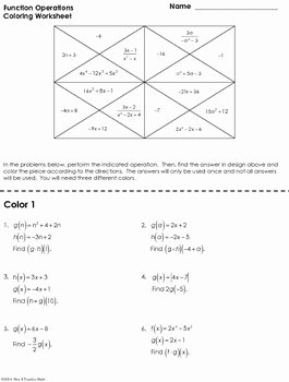 Operations On Functions Worksheet Lovely Function Operations Coloring Worksheet by Mrs E Teaches