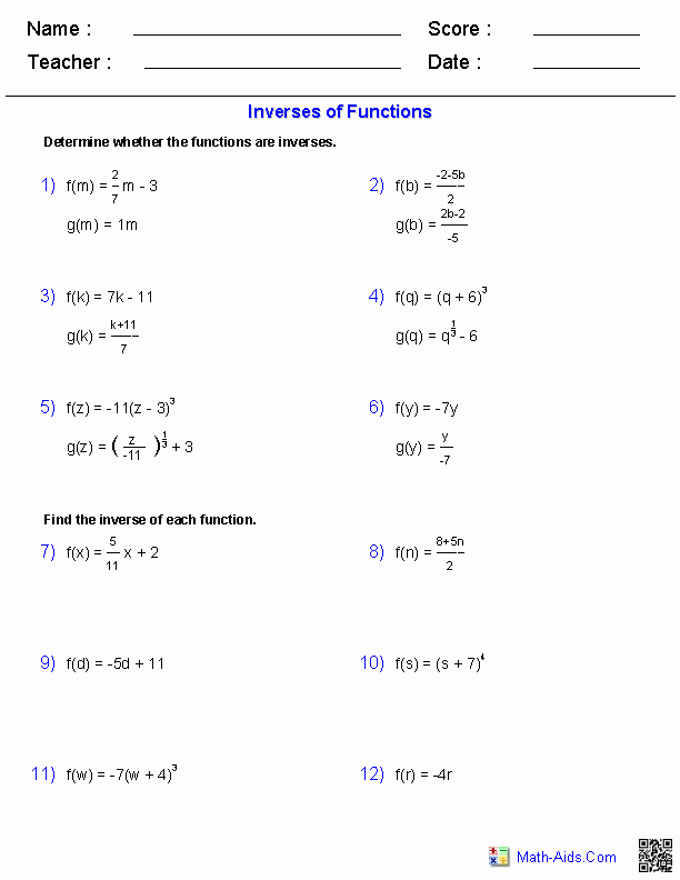 Operations On Functions Worksheet Unique Inverse Functions and Logarithms Worksheets