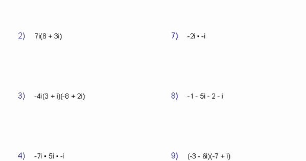 Operations with Complex Numbers Worksheet Elegant Operations with Plex Numbers