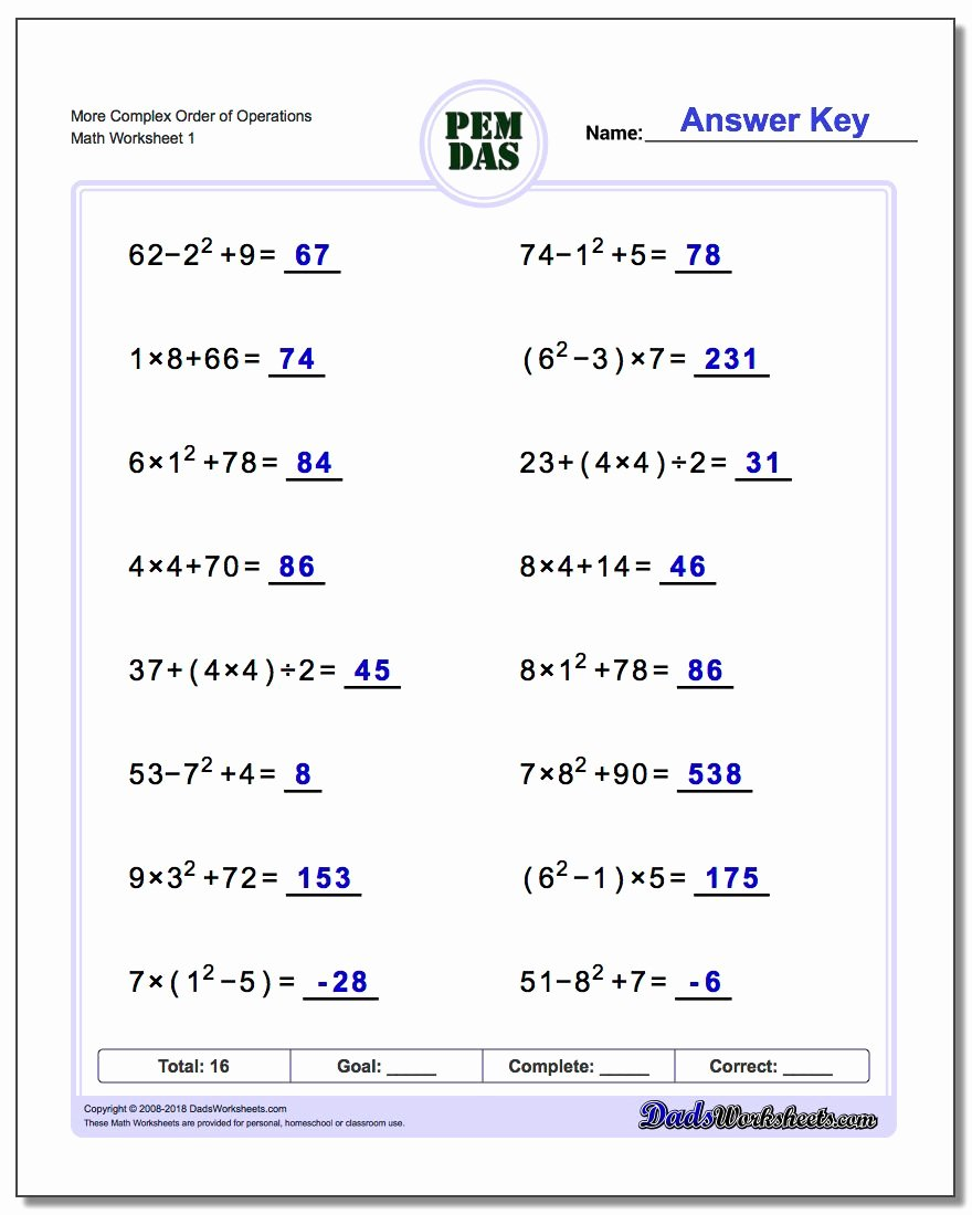 Operations with Complex Numbers Worksheet Luxury order Of Operations