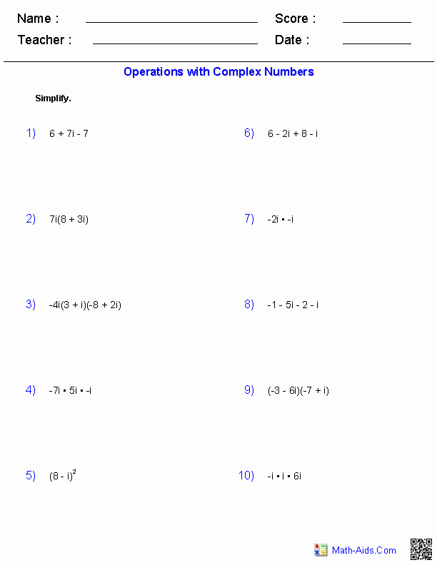 Operations with Complex Numbers Worksheet Unique Algebra 2 Worksheets