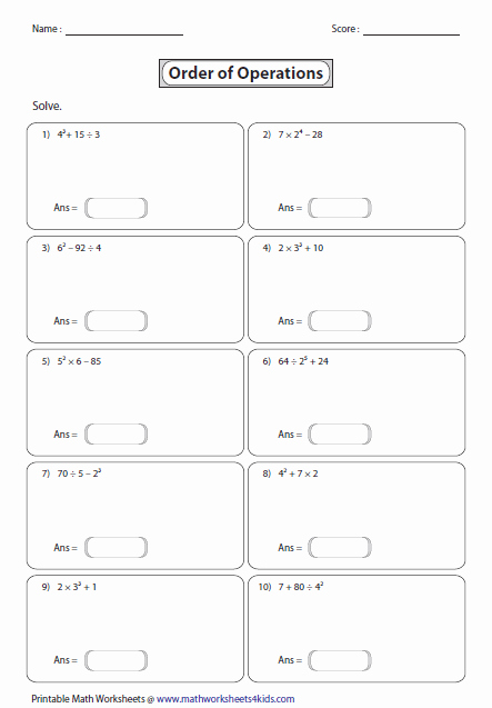Operations with Exponents Worksheet Beautiful order Of Operations Worksheets