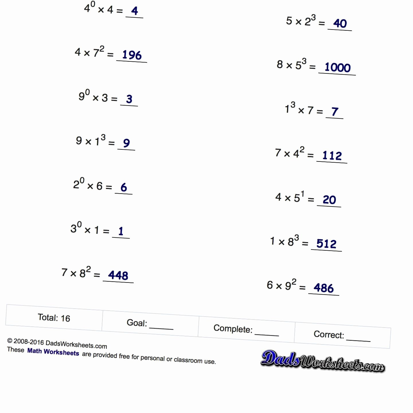 Operations with Exponents Worksheet Elegant Worksheets order Operations Worksheets with Exponents
