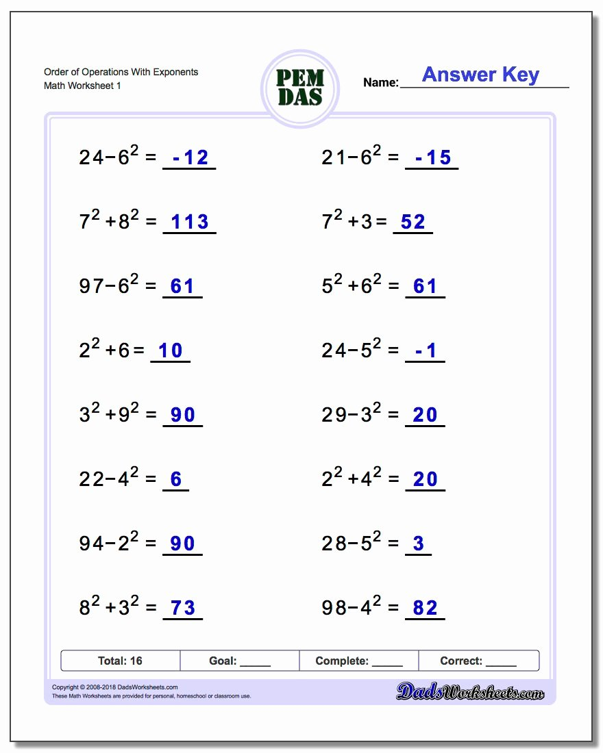 Operations with Exponents Worksheet Inspirational order Of Operations