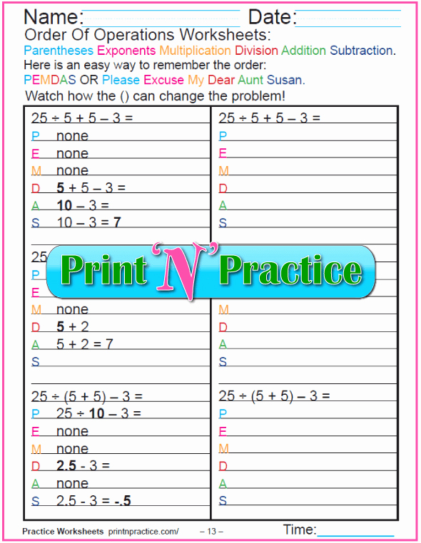 Operations with Exponents Worksheet Unique order Of Operations Worksheets for Kids