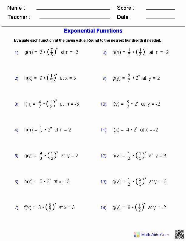 Operations with Functions Worksheet Beautiful Evaluating Exponents Functions Worksheets
