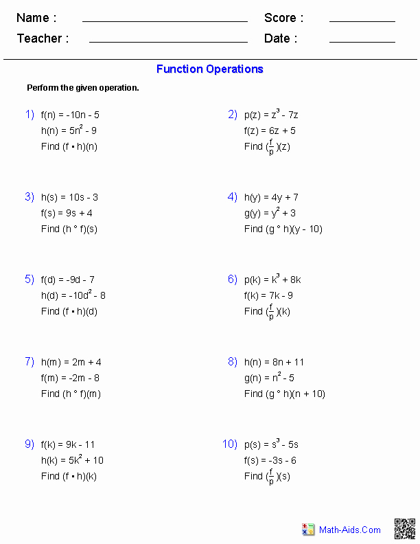 Operations with Functions Worksheet Elegant Algebra 2 Worksheets