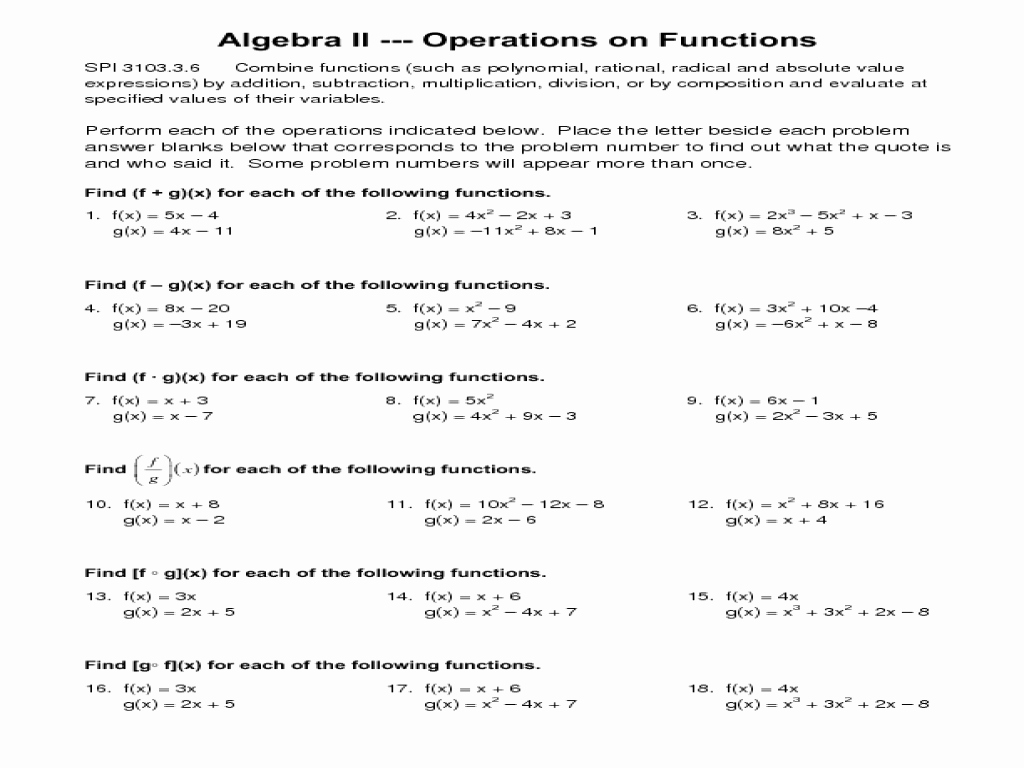 Operations with Functions Worksheet Elegant Operations On Functions Worksheet for 9th 12th Grade