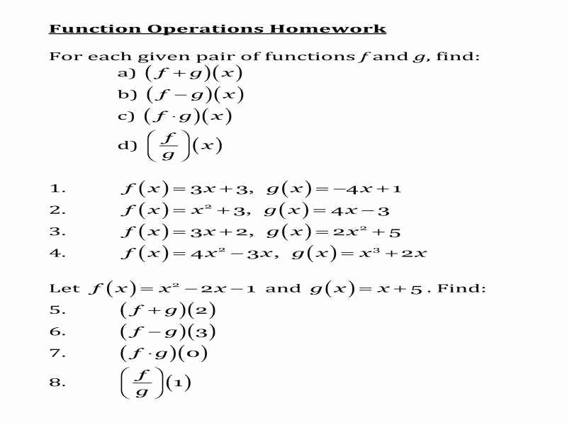 Operations with Functions Worksheet Luxury Function Operations Worksheet