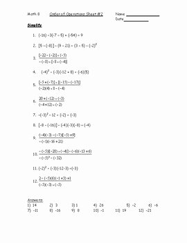 Operations with Integers Worksheet Pdf Awesome order Of Operations with Integers Worksheet 2 Pdf by Kara