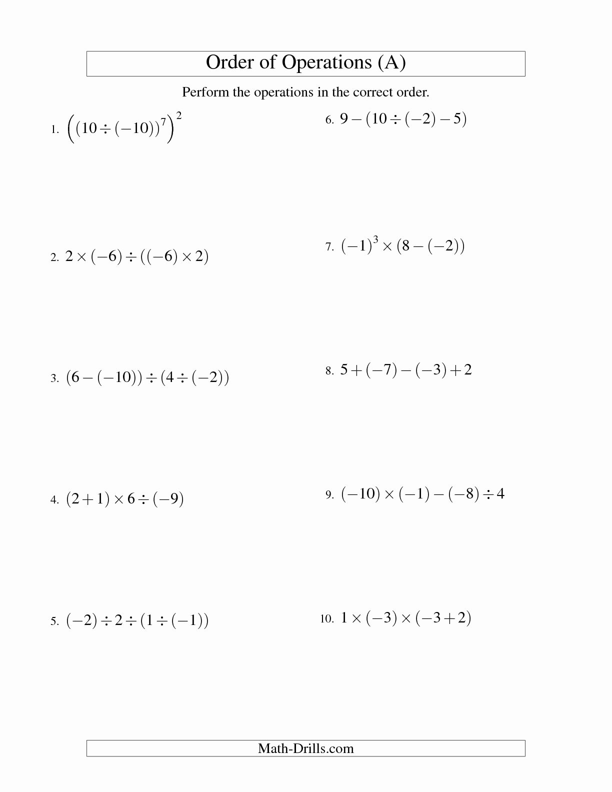 Operations with Integers Worksheet Pdf Fresh Operations with Integers Worksheet Pdf the Best Worksheets