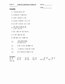 Operations with Integers Worksheet Pdf Unique order Of Operations with Integers Worksheet 1 by Kara