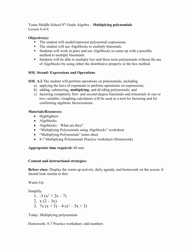 Operations with Polynomials Worksheet Awesome Multiplying Polynomials Lp Lesson 4
