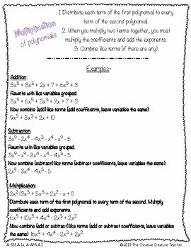 Operations with Polynomials Worksheet Elegant Basic Operations with Polynomials by the Creative Creature