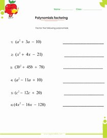 Operations with Polynomials Worksheet Elegant Factoring Polynomials Worksheets with Answers and Operations