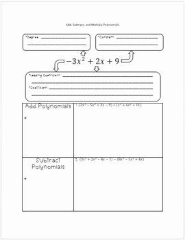 Operations with Polynomials Worksheet Fresh Operations with Polynomials Notes by Tarahb