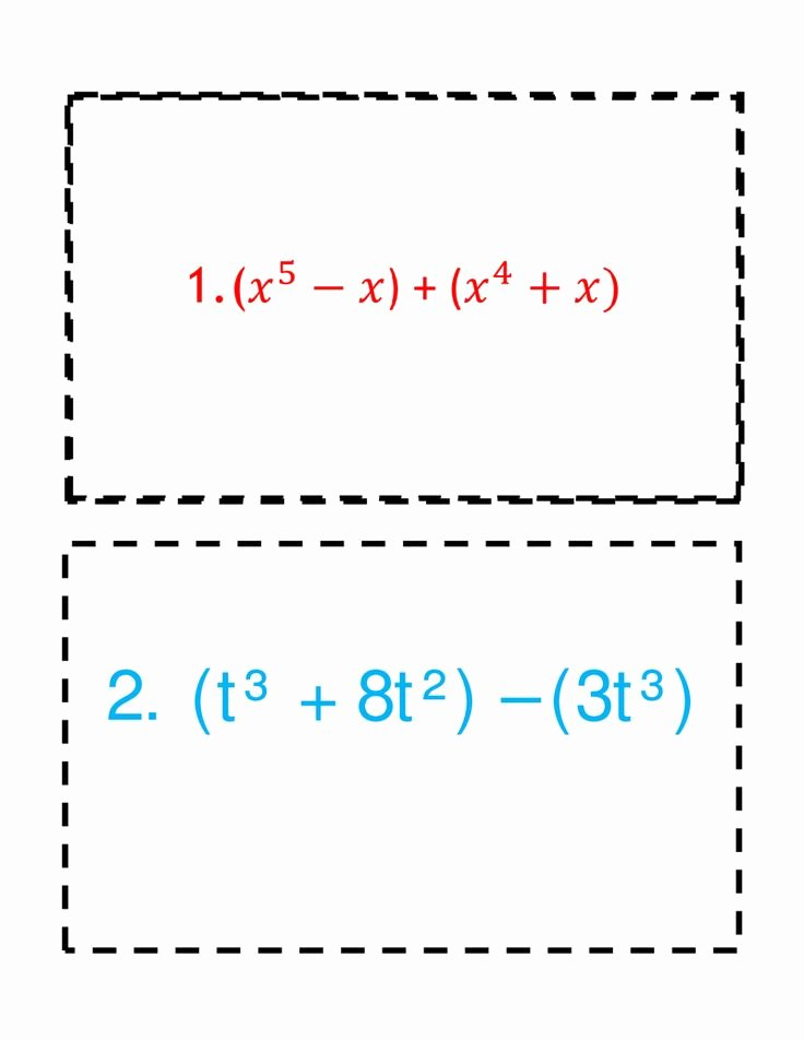 Operations with Polynomials Worksheet Unique 8 1 Adding Subtracting Polynomials Chapter 8