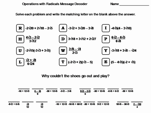Operations with Radicals Worksheet Beautiful Secondary Maths Resources Maths Worksheets for Ks3 Ks4