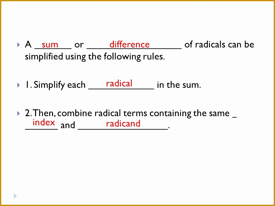 Operations with Radicals Worksheet Best Of 7 Adding and Subtracting Radical Expressions Worksheet