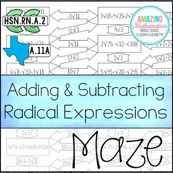 Operations with Radicals Worksheet Elegant Operations with Radical Expressions Maze Adding