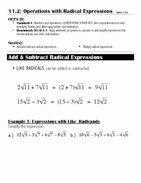 Operations with Radicals Worksheet Fresh Operations with Radical Expressions Worksheet for 7th