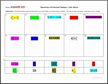 Operations with Rational Numbers Worksheet Inspirational Operations with Rational Numbers Color Match by Oorah Math
