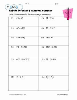 Operations with Rational Numbers Worksheet Luxury Adding Integers & Rational Numbers Worksheet by April