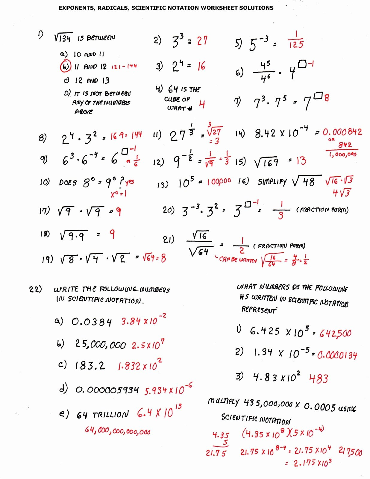 Operations with Scientific Notation Worksheet Awesome Cobb Adult Ed Math solutions to Last 3 Worksheets