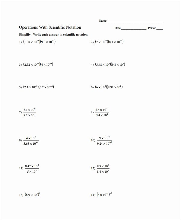 Operations with Scientific Notation Worksheet Fresh Sample Scientific Notation Worksheet 9 Free Documents