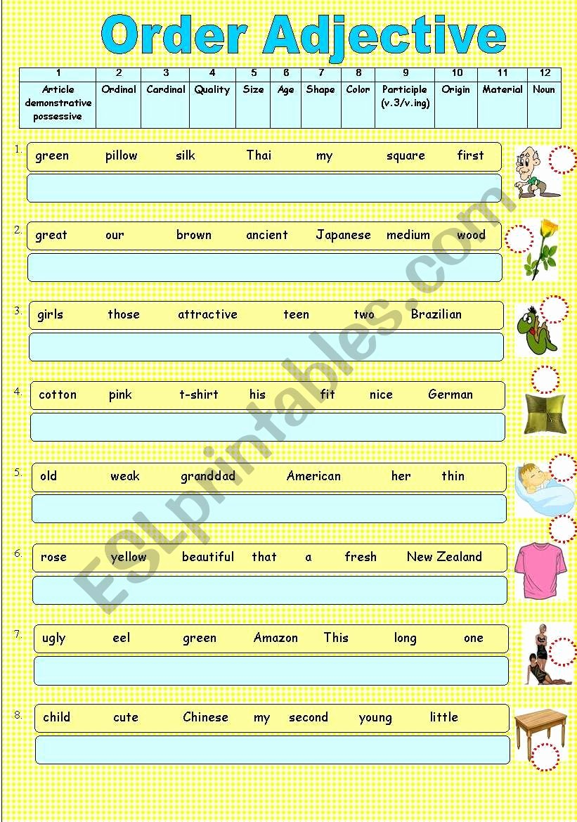 Order Of Adjectives Worksheet Awesome order Adjective Esl Worksheet by Sweetdreamja
