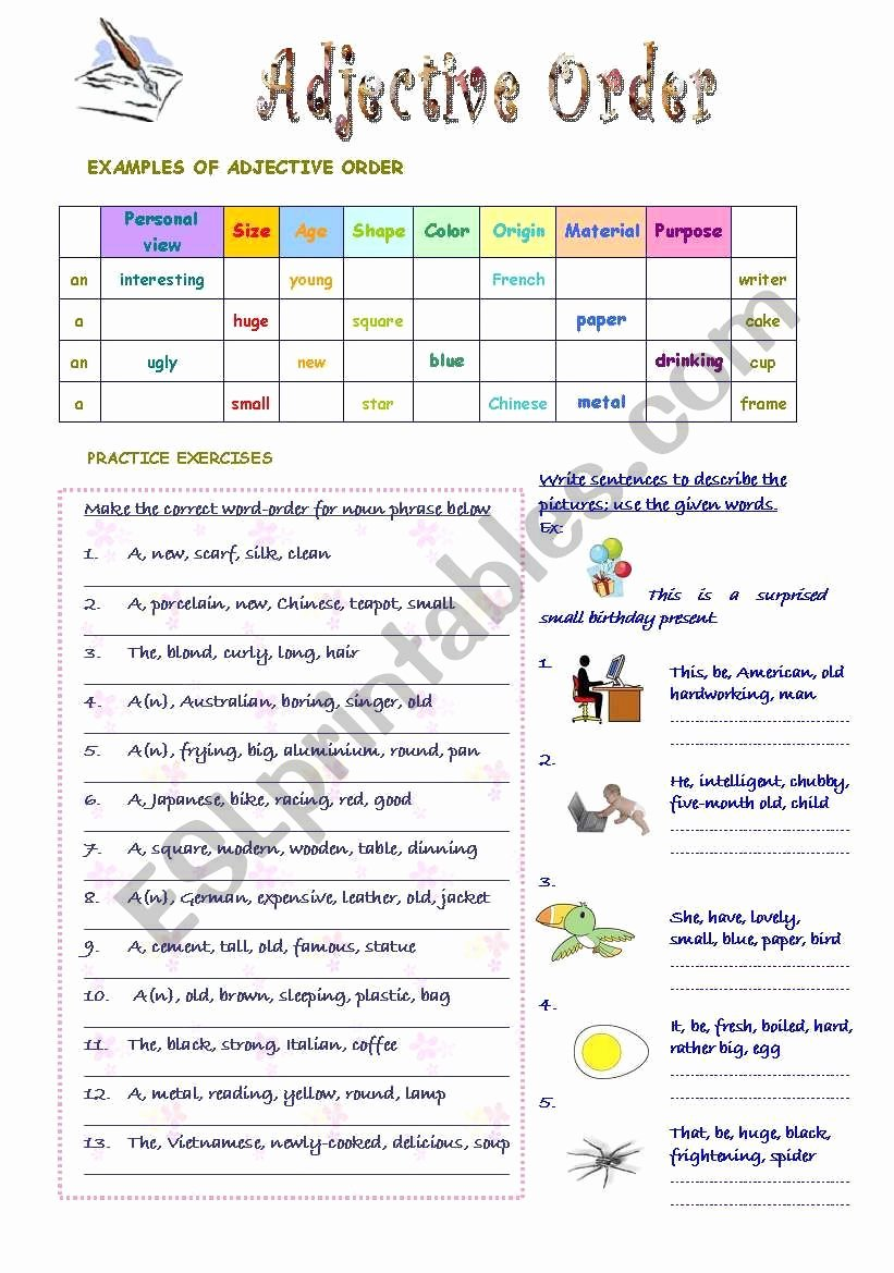 Order Of Adjectives Worksheet Beautiful Adjective order Worksheet English Grammar
