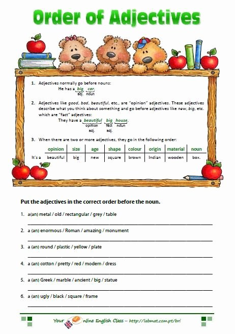 Order Of Adjectives Worksheet Best Of 44 Best Images About Adjectives Worksheets On Pinterest