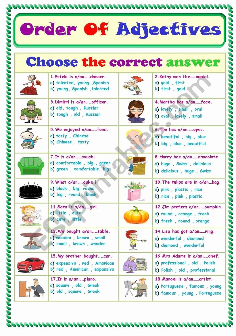 Order Of Adjectives Worksheet Fresh order Adjectives Esl Worksheet by Ms Sara Q8
