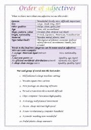 Order Of Adjectives Worksheet Inspirational order Of Adjectives In A Sentence