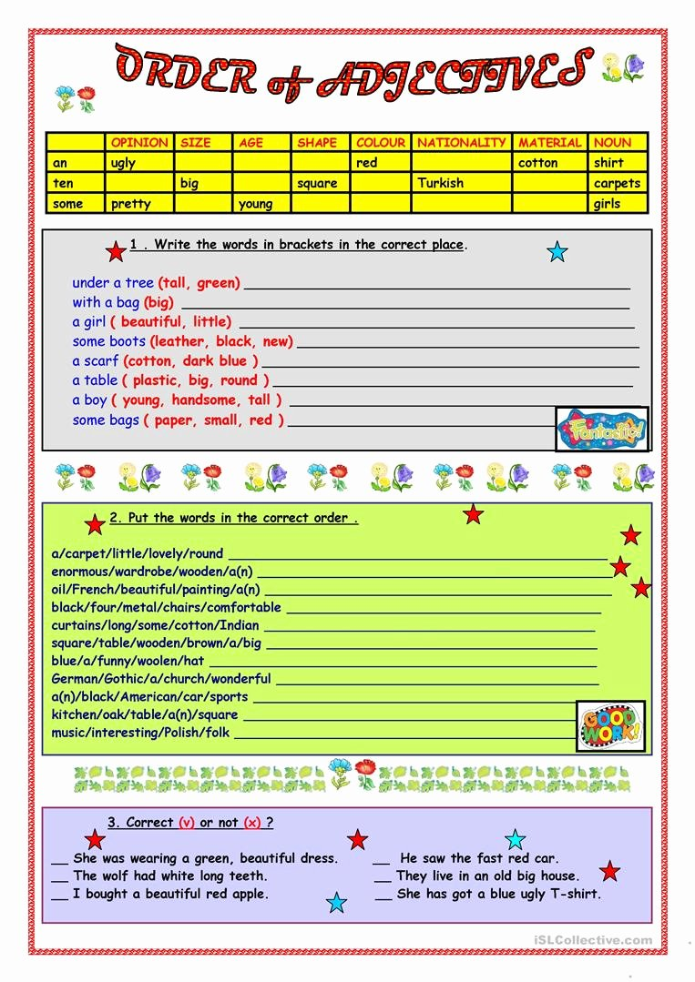 Order Of Adjectives Worksheet Luxury order Of Adjectives Worksheet Free Esl Printable