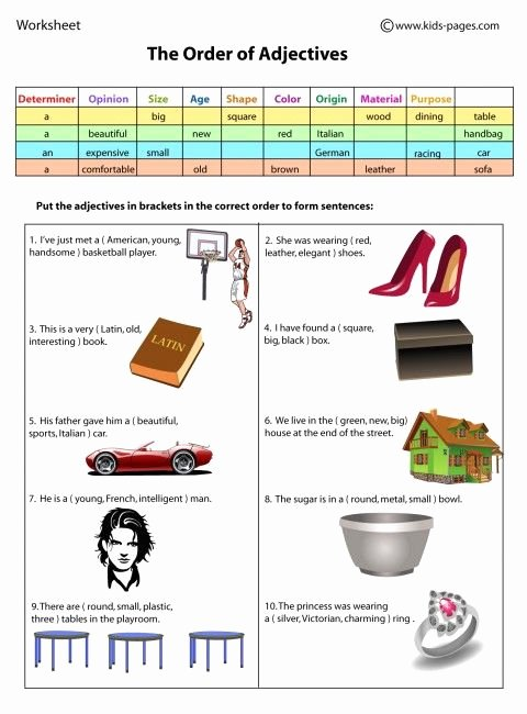 Order Of Adjectives Worksheet Unique 17 Best Images About Grammar ordering Adjectives On Pinterest
