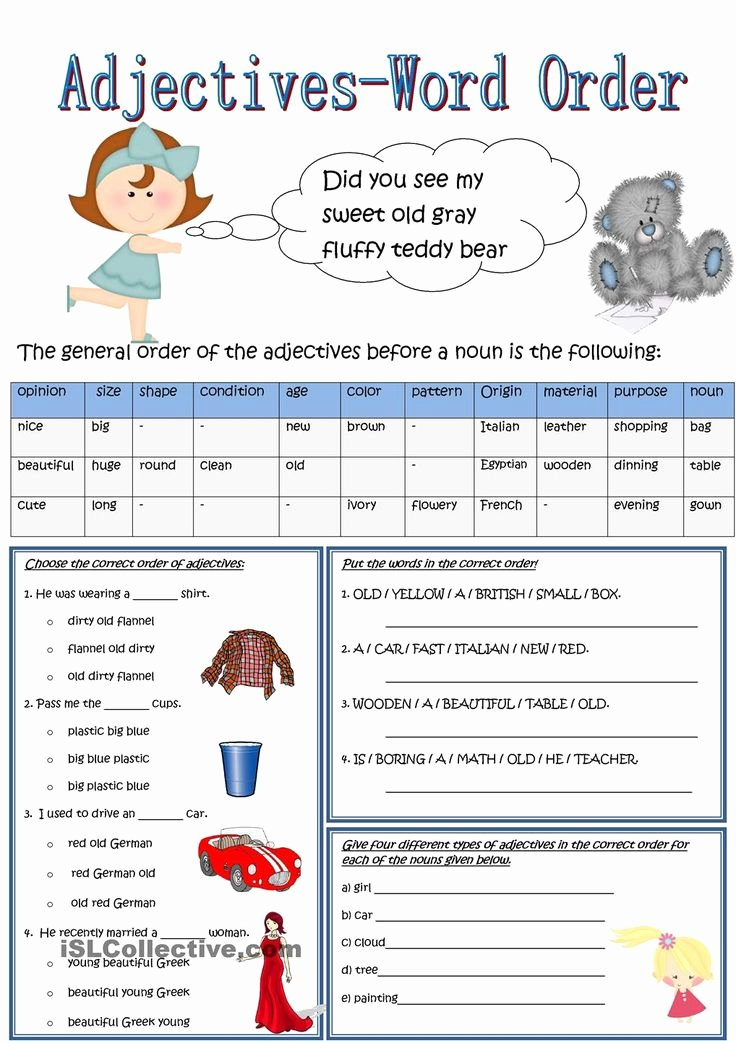 Order Of Adjectives Worksheet Unique Best 25 order Of Adjectives Worksheet Ideas On Pinterest