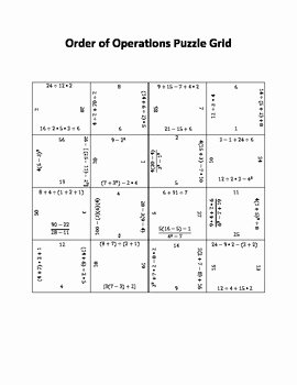 Order Of Operations Puzzle Worksheet Best Of order Of Operations Puzzle Grid by Easy Math solution