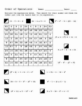 Order Of Operations Puzzle Worksheet Elegant order Of Operations Search and Shade by Bree Deweerdt