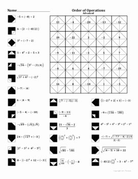 Order Of Operations Puzzle Worksheet Fresh order Of Operations Advanced Coloring Worksheet by Aric